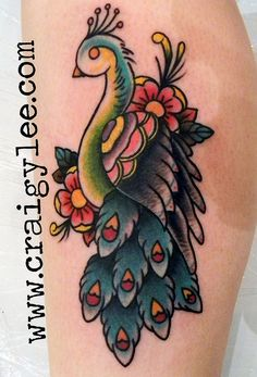 another peacock, american traditional tattoo