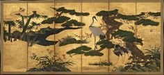 "Masterpieces of Japanese Art at the Met - The New York Times  ""Birds and Flowers of the Four Seasons,"" from the Momoyama period. Credit Mary Griggs Burke Collection"