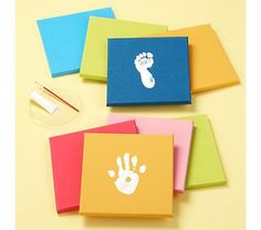 simple handprint/footprint on canvas