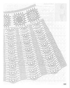 Fabulous Crochet a Little Black Crochet Dress Ideas. Georgeous Crochet a Little Black Crochet Dress Ideas. Crochet Skirt Pattern, Crochet Skirts, Crochet Diagram, Crochet Chart, Crochet Motif, Crochet Clothes, Crochet Lace, Crochet Patterns, Sewing Patterns