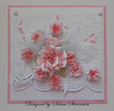 The roses were made with Spellbinders dies. The embossed background was created with one of the Marianne Design Cut and Emboss folders. All the details are on my blog: http://selmasstampingcorner.blogspot...tty-roses.html