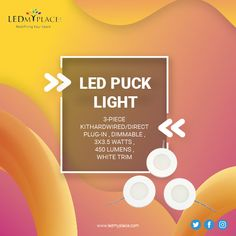 A wonderful lighting option for the underside of cabinets, shelves and more. LED Puck Lights emanate soft, diffused light and take up minimal space for installation. 12v Led Strip Lights, Led Puck Lights, Led Flood Lights, Led Ceiling Lights, Led Under Cabinet Lighting, Bar Led, Led Light Fixtures, Emergency Lighting, Light Project