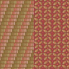 """Jacobean"" dupla faixa geométrica e floral - escura (estampa digital)"