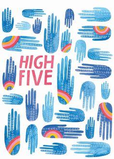 High Five Greeting Card by Lisa Congdon