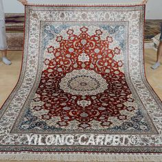 Yilong 6'x9' Middle Persian Silk Rug Hand Knotted Oriental Carpets Handmade 0967