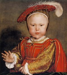 1538 Hans Holbein the Younger (1498–1543) Portrait of Prince Edward, later King Edward VI of England. Detail.  Here Holbein took care to clarify the regal heritage of his subject, when he portrayed Edward, only son of King Henry VIII of England.  Holbein captures the face of early childhood brilliantly. Edward was, in fact, 2 when this portrait was completed. Stands dressed like his father holding out a majestic, ruler's hand, while the other hand holds his baby rattle.