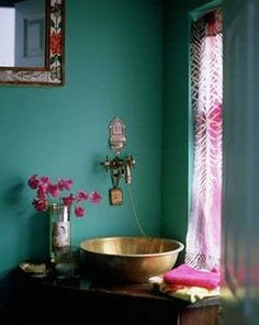 colorful bathroom with green / blue walls and purple accents    #colorful bathroom  #purple and green bathroom