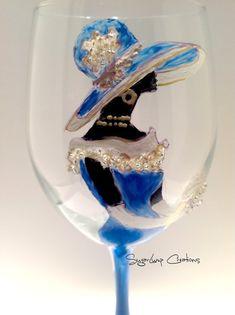 Un verre de vin fabuleux pour dîner et recevoir 4 - personnalisé verrerie peinte à la main