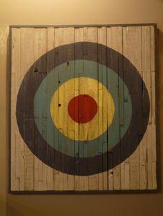 "50"" x 55"" wood art bullseye"