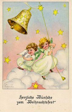 AK - Weihnachten - HANNES PETERSEN - Engelchen läuten die Glocke, 1954