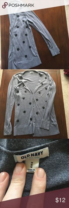 Old navy sequin polka dot cardigan Beautiful EUC cardigan, signs of wear visible on softness of fabric, pictured. Fits longer sizes approx and in inches.  Back of Collar to waist 27 in, inseam bottom of arm to waist 20, sleeve 24 in Old Navy Tops