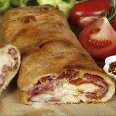 Easy Pepperoni Roll-Up Pizza - Johnny's Fine Foods Pizza Stromboli, Focaccia Pizza, Easy Salad Recipes, Lunch Recipes, Easy Pepperoni Rolls, Pizza Au Four, Tortas Sandwich, Pan Relleno, Empanadas