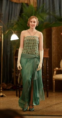 Laura Carmichael as Lady Edith Crawley wearing her beautiful beaded green gown. Downton Abbey