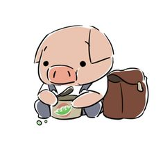 THE DAM KEEPER'S, Pig, eating his peas for lunch!