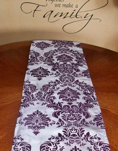 Damask Eggplant And White Table Runner Taffeta By DESIGNERSHINDIGS, $9.00