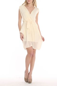 LOVE JULIAN Flow Dress in Beige - Beyond the Rack