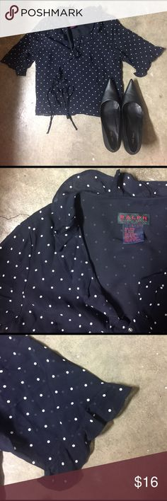 Ralph Lauren || Wrap-Around Blouse Polka dots!  Sweet black and white top with ruffles at neckline  and sleeves.  Snap for secure fit, wrap around with tie for cute bow touch at side.  Great condition, no snags, piling, fading or stains. 100% rayon. Size large.  Brand: Ralph Lauren. Ralph Lauren Tops Blouses