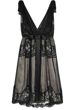 Beautiful black lace dress. Give me please. I love v-neck dresses. Very flattering. -DH