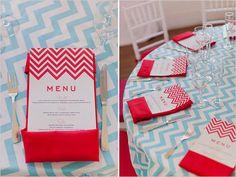 red chevron menu and light blue chevron tablecloth