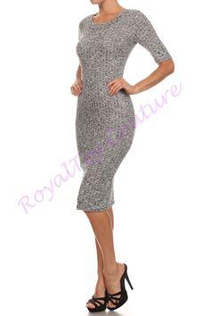 Grey Ribbed Knit Midi Dress