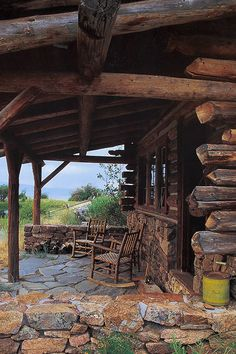 rustic log cabin porch with stonework Log Cabin Living, Log Cabin Homes, Log Cabins, Rustic Cabins, Cabin Porches, Cabin In The Woods, Little Cabin, Cabins And Cottages, Cozy Cabin