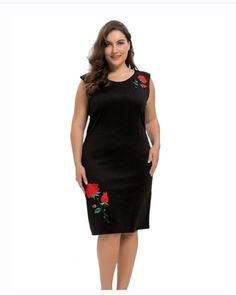 360fb88ed404 Women s Plus Size Stretch Scuba Sheath Dress with Rose Embroidery - Knee  Length Casual Party and Work Dress