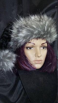 80721396b93 Limited Edition.. Luxury Black Santa hat with Gray Wolf trim Grey Hat