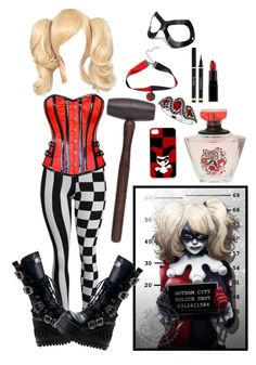 """Mistress of Madness: Harley Quinn"" by dizziedizazter ❤ liked on Polyvore featuring Blue Pearl and Masquerade"