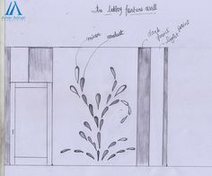Feature Wall Sketch Design Work for Lobby Area by Amer Adnan Associates