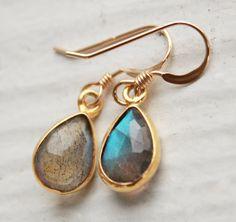 Gold Labradorite Earrings  Teardrops  Midnight Blue by OhKuol, $45.00