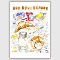 Cake Illustration, Food Illustrations, Watercolor Illustration, Orange Kitchen Walls, French Croissant, Recipe Drawing, Bakery Decor, Marmalade Recipe, Food Painting