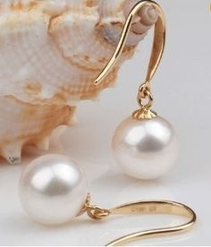 beautiful 9-10MM AAA+++ WHITE PEARL EARRING 14K YG MARKED € 21,66