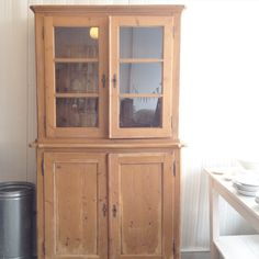 glass door antique pine cupboard