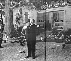 Hitchcock directing on the set