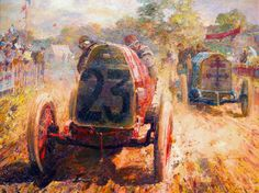 By Dexter Brown - French driver Louis Wagner on the giant Fiat S74 leading René Hanriot's Lorraine-Dietrich in the 1912 French Grand Prix.
