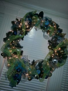 My huge 2015 wreath! Lime green and blue...with pinecones!