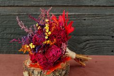Rustic Farmhouse Fall Wedding Flower Girl Bouquet, Toss Bouquet, Dried Flowers, Burgundy Peony Bouquet with Wheat and Autumn Wild Flowers on Etsy, $35.00