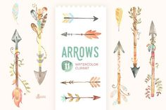 Arrows Watercolor Clipart by OctopusArtis on @creativemarket