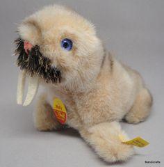 #Steiff Wally #Walrus Seal Beige Plush & Mohair 10cm 4in ID Button Tags 1979 -84