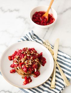 Banana Almond Pancakes with pear raspberry compote
