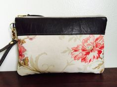 Coral Flower Large Zipper Clutch Remove Wrist by NeenaBags