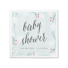 Shop Winter Wonderland Personalized Baby Shower Napkin created by colleenmichele. Baby Shower Napkins, Party Napkins, Cocktail Napkins, Personalized Napkins, Personalized Baby, Baby Shower Winter, Ecru Color, Winter Wonderland, Create Your Own