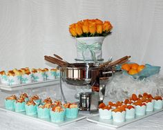 Bridal Shower Fondue Party with Tiffany Blue Dessert Skirtz cupcake wrappers