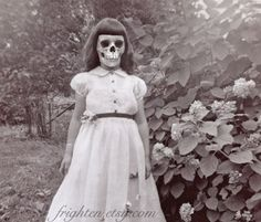 Halloween Decor, Mixed Media Collage Print, Creepy Girl with Skull Face Art , Princess, Altered Vintage Photo