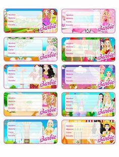 etiquetas para cuadernos de niñas barbie Notebook Labels, Notebook Stickers, Printable Name Tags, Printable Labels, Barbie, Name Tag For School, Personalized School Supplies, Kindergarten Anchor Charts, Classroom Birthday