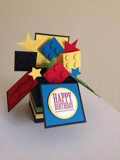Handmade Lego card kids lego fun card in a box por Deeshandcrafted
