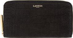 Lanvin Black Nubuck Croc-Embossed Continental Wallet