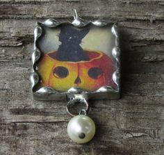 Pumpkin Black Cat Jack O'Lantern 1 Inch by MablesGranddaughter, $15.00