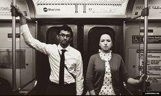 chicago l train subway vintage Polka Dot Dress engagement photos