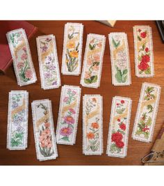 Bucilla Flowers Of The Month Bookmarks Counted Cross Stitch Kit, , hi-res